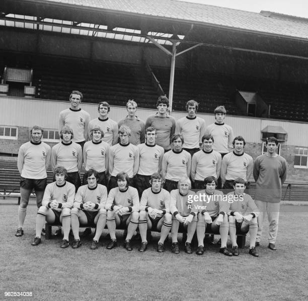 Wolverhampton Wanderers Football Club team squad posed together on the pitch at Molineux stadium in Wolverhampton at the start of the 197071 football...