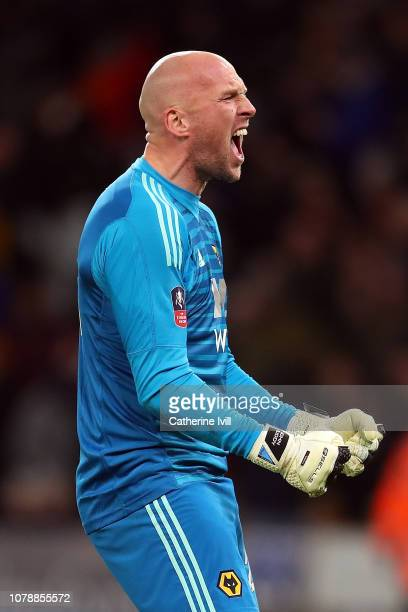 Wolverhampton Wanderers goal keeper John Ruddy celebrates his side's win in the Emirates FA Cup Third Round match between Wolverhampton Wanderers and...