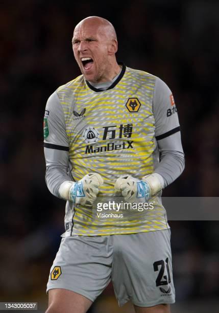 Wolverhampton Wanderers goalkeeper John Ruddy celebrates their first goal during the Carabao Cup Third Round match between Wolverhampton Wanderers...