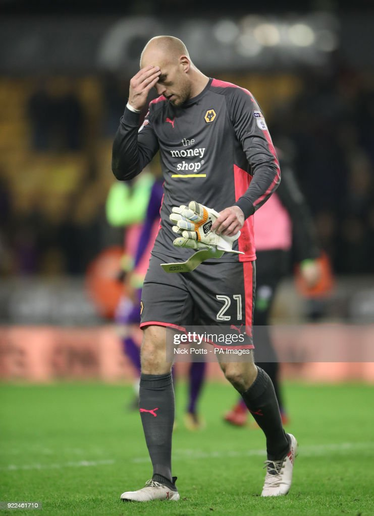 Wolverhampton Wanderers goalkeeper John Ruddy shows his dejection after the Sky Bet Championship match at Molineux, Wolverhampton.