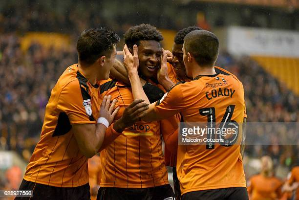 Wolverhampton Wanderers goalscorer Kortney House celebrates with Conor Coady during the Sky Bet Championship match between Wolverhampton Wanderers...