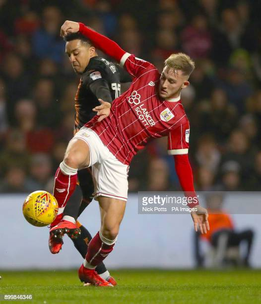 Wolverhampton Wanderers' Helder Costa and Bristol City's Josh Brownhill battle for the ball during the Sky Bet Championship match at Ashton Gate...