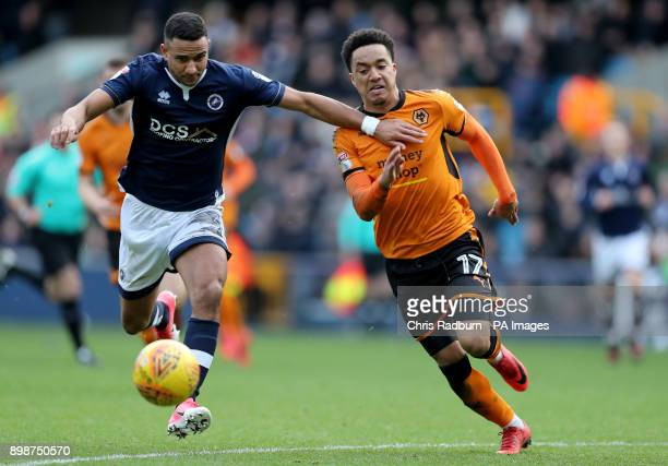 Wolverhampton Wanderers Helder Costa land Millwall's James Meredith during the Sky Bet Championship match at The New Den London