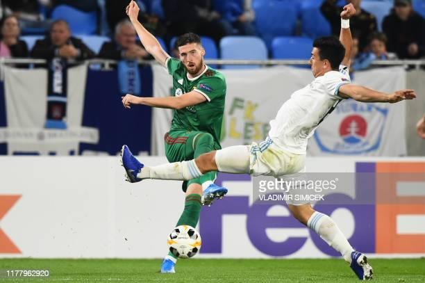 Wolverhampton Wanderers' Irish defender Matt Doherty and Slovan's Croatian midfielder Marin Ljubicic vie for the ball during the UEFA Europa League...