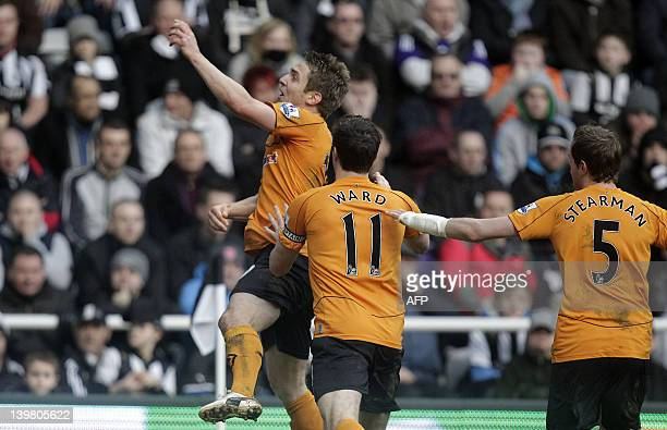 Wolverhampton Wanderers' Irish striker Kevin Doyle celebrates scoring their 2nd goal during the English Premier League football match between...