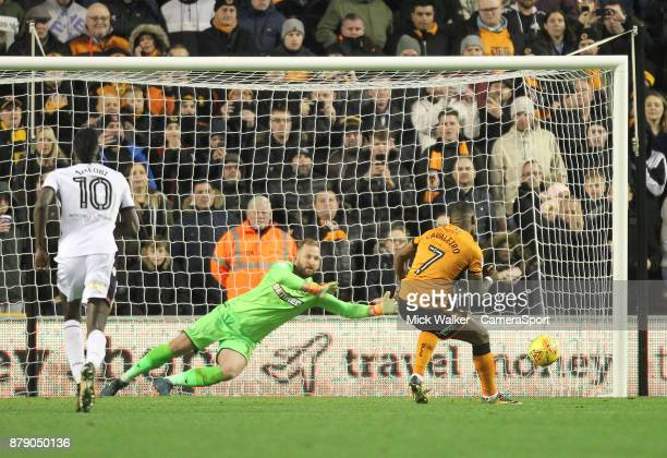 Wolverhampton Wanderers Ivan Cavaleiro beats Bolton Wanderers Ben Alnwick from the penalty spot during the Sky Bet Championship match between...