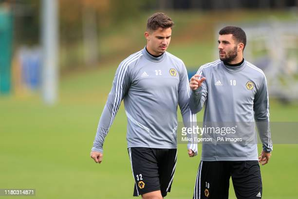Wolverhampton Wanderers' Leander Dendoncker and Patrick Cutrone during the training session at the Sir Jack Hayward Training Ground Wolverhampton