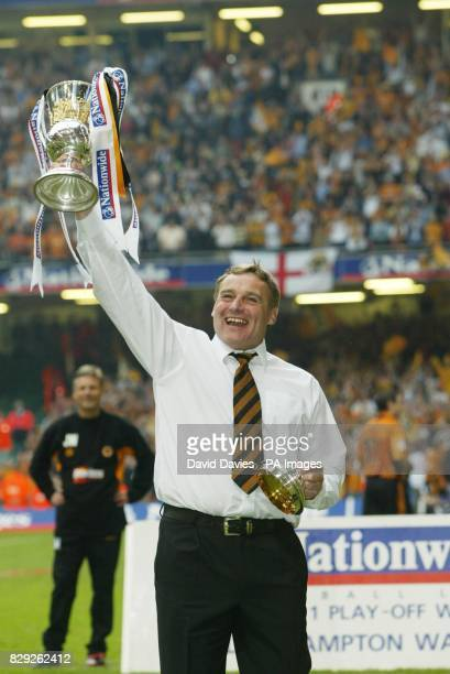 Wolverhampton Wanderers manager Dave Jones lifts the trophy after the Nationwide Division One playoff final against Sheffield United at the...