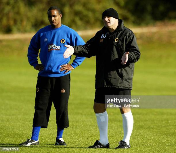 Wolverhampton Wanderers' manager Dave Jones with player Paul Ince gives players their instructions during training prior to meeting Stoke City THIS...