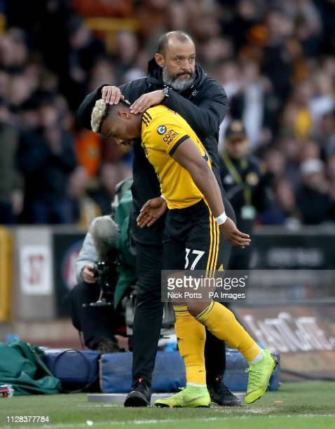 Wolverhampton Wanderers manager Nuno Espirito Santo Adama Traore as he is substituted during the Premier League match at Molineux Wolverhampton