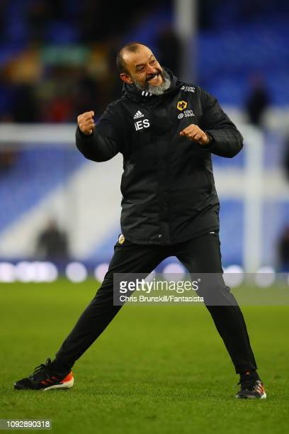 Wolverhampton Wanderers manager Nuno Espirito Santo celebrates at fulltime following the Premier League match between Everton FC and Wolverhampton...