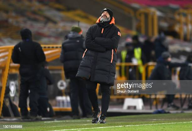 Wolverhampton Wanderers Manager Nuno Espirito Santo reacts from the touch-line during The Emirates FA Cup Fifth Round match between Wolverhampton...
