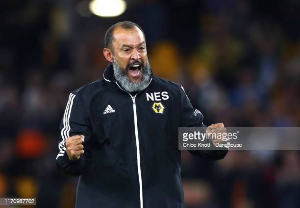 Wolverhampton Wanderers manager Nuno Espírito Santo celebrates after winning the second leg UEFA Europa League PlayOff match between Torino and...