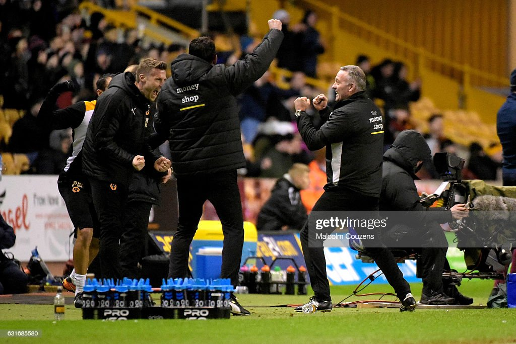 Wolverhampton Wanderers manager Paul Lambert celebrates at the final whistle during the Sky Bet Championship match between Wolverhampton Wanderers and Aston Villa at Molineux on January 14, 2017 in Wolverhampton, England.