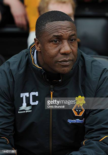 Wolverhampton Wanderers manager Terry Connor looks on during the Barclays Premier League match between Wigan Athletic and Wolverhampton Wanderers at...