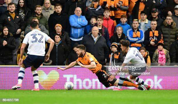 Wolverhampton Wanderers' Matt Doherty is fouled by Preston North End's Josh Harrop giving away a penalty during the Sky Bet Championship match...