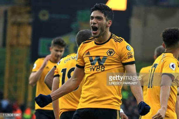Wolverhampton Wanderers' Mexican striker Raul Jimenez celebrates after scoring their second goal during the English Premier League football match...