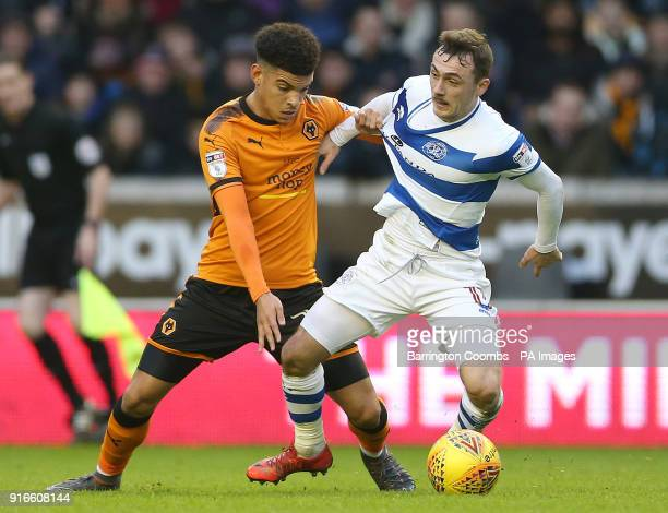 Wolverhampton Wanderers' Morgan GibbsWhite and Queens Park Rangers' Josh Scowen during the Sky Bet Championship match at Molineux Wolverhampton