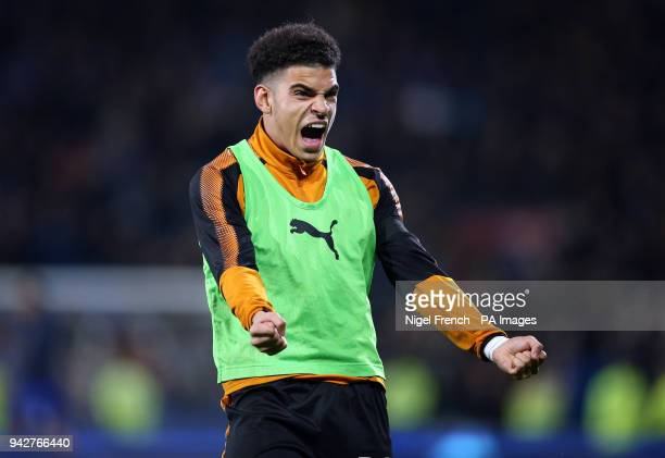 Wolverhampton Wanderers' Morgan GibbsWhite celebrates victory during the Sky Bet Championship match at the Cardiff City Stadium