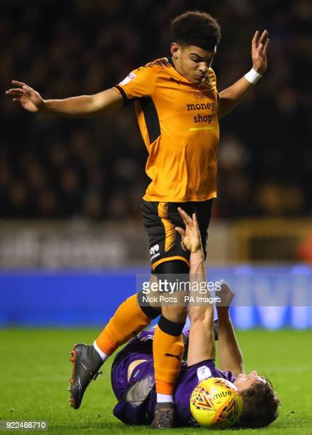 Wolverhampton Wanderers' Morgan GibbsWhite gets away from Norwich City's Christoph Zimmermann during the Sky Bet Championship match at Molineux...