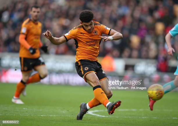 Wolverhampton Wanderers Morgan GibbsWhite has a shot on goal during the Sky Bet Championship match at Molineux Wolverhampton