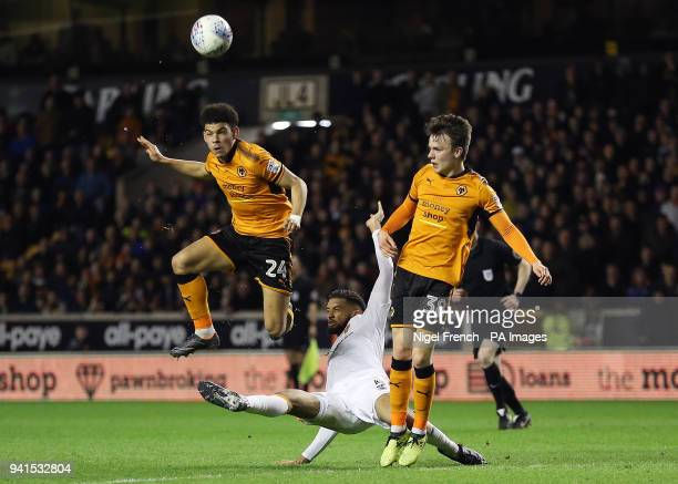 Wolverhampton Wanderers' Morgan GibbsWhite heads during the Sky Bet Championship match at Molineux Wolverhampton