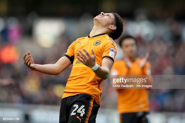 Wolverhampton Wanderers Morgan GibbsWhite reacts after a missed shot on goal during the Sky Bet Championship match at Molineux Wolverhampton