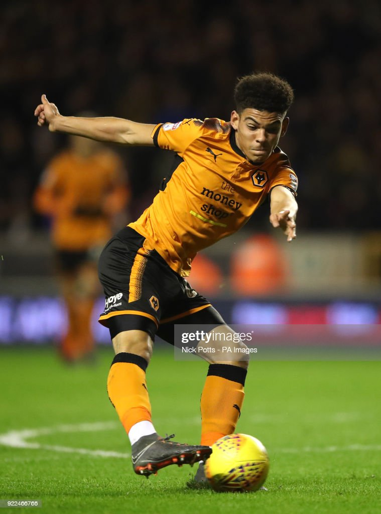 Wolverhampton Wanderers' Morgan Gibbs-White shoots at goal during the Sky Bet Championship match at Molineux, Wolverhampton.