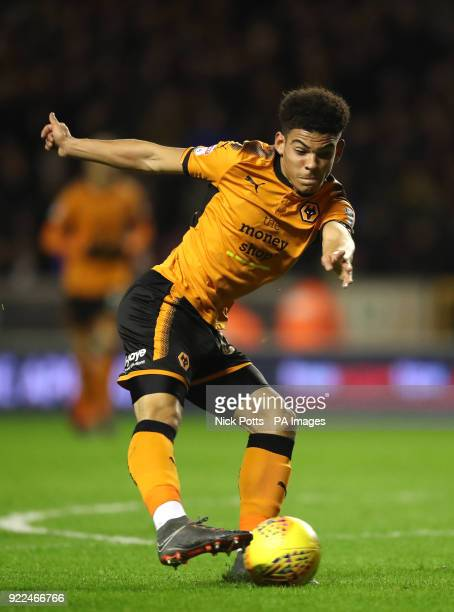 Wolverhampton Wanderers' Morgan GibbsWhite shoots at goal during the Sky Bet Championship match at Molineux Wolverhampton