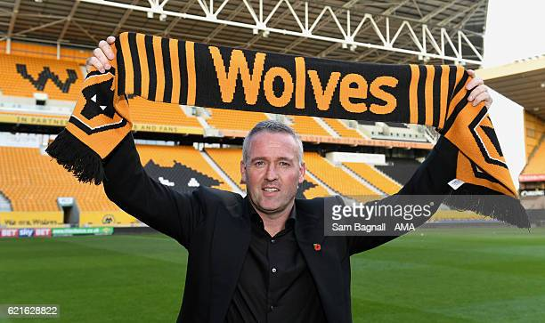 Wolverhampton Wanderers new manager Paul Lambert poses at the Molineux on November 7, 2016 in Wolverhampton, England.