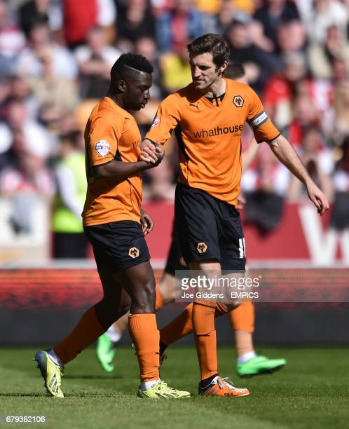 Wolverhampton Wanderers' Nouha Dicko celebrates his first goal with Sam Ricketts