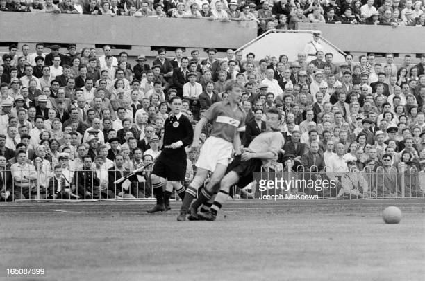 Wolverhampton Wanderers play Spartak Moscow, in Moscow, 7th August 1955. Spartak won the match 3-0. Original publication: Picture Post - 7943 - With...