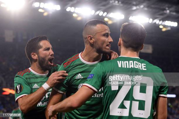 Wolverhampton Wanderers' players celebrate after scoring a goal during the UEFA Europa League Group K football match between SK Slovan Bratislava and...