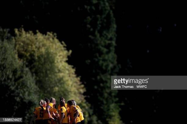 Wolverhampton Wanderers players huddle during the FAWNL Northern Premier Division match between Wolverhampton Wanderers Women and Nottingham Forest...