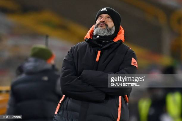 Wolverhampton Wanderers' Portuguese head coach Nuno Espirito Santo gestures on the touchline during the English FA Cup fifth round football match...