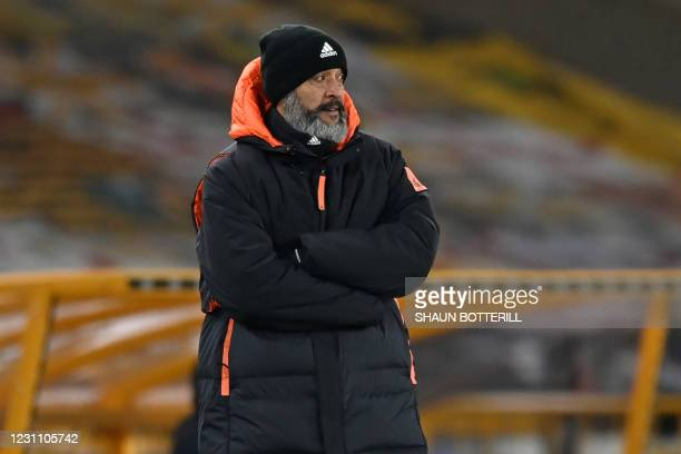 Wolverhampton Wanderers' Portuguese head coach Nuno Espirito Santo looks on during the English FA Cup fifth round football match between...