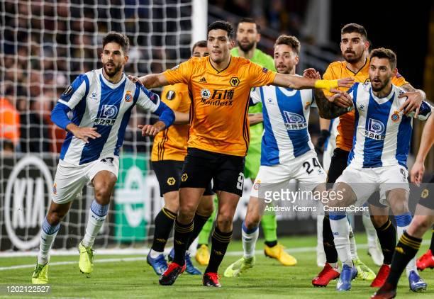 Wolverhampton Wanderers' Raul Jimenez attacking a corner kick during the UEFA Europa League round of 16 first leg match between Wolverhampton...