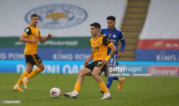 Wolverhampton Wanderers' Raul Jimenez shields the ball from Leicester City's James Justin during the Premier League match between Leicester City and...