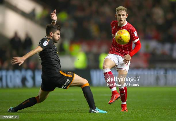 Wolverhampton Wanderers' Ruben Neves and Bristol City's Josh Brownhill battle for the ball during the Sky Bet Championship match at Ashton Gate...