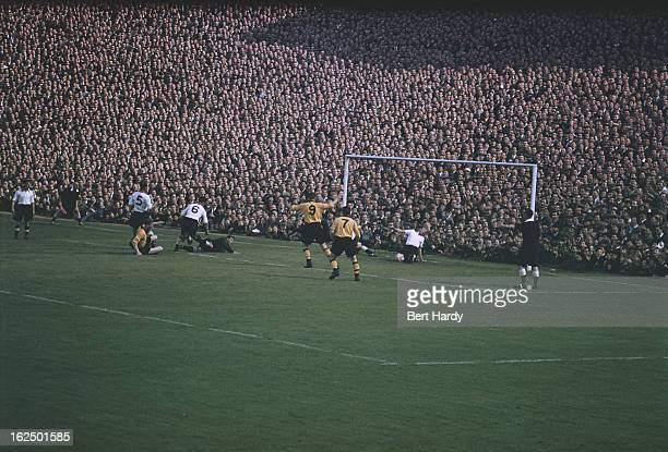 Wolverhampton Wanderers score the only goal of the match to beat Blackpool at Molineux Stadium Wolverhampton 4th September 1954 Wolves won the match...