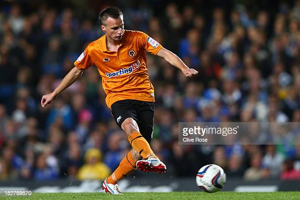 Wolverhampton Wanderers' Slawomir Peszko in action during the Capital One Cup third round match between Chelsea and Wolverhampton Wanderers at...