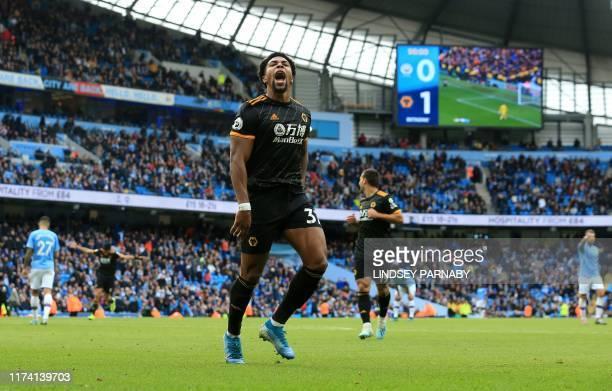 Wolverhampton Wanderers' Spanish striker Adama Traore celebrates scoring his team's second goal during the English Premier League football match...