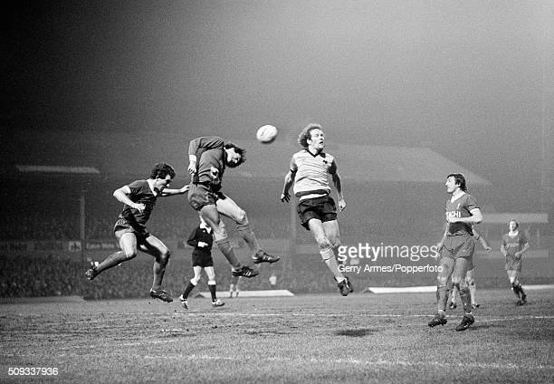 Wolverhampton Wanderers striker Andy Gray is outnumbered by Liverpool defenders during their First Division match at Molineux in Wolverhampton 27th...