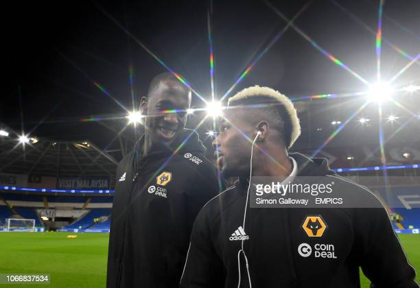 Wolverhampton Wanderers' Willy Boly and Adama Traore on the pitch before the game Cardiff City v Wolverhampton Wanderers Premier League Cardiff City...