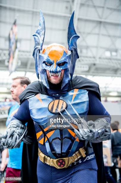 Wolverine Batman cosplayer in character seen during London Film and Comic Con 2019 at Olympia London on July 27 2019 in London England