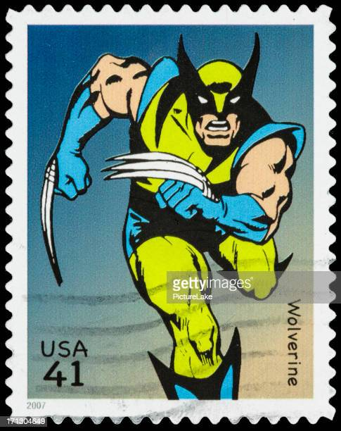 usa wolverine postage stamp - cartoon stock pictures, royalty-free photos & images