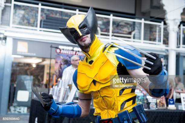 Wolverine X-Men cosplayer seen during Day 1 of the London Super Comic Con at Business Design Centre on August 25, 2017 in London, England.