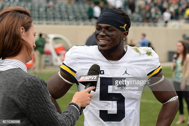 Wolverines linebacker Jabrill Peppers speaks with ESPN's Allison Williams following a Big Ten Conference NCAA football game between Michigan State...