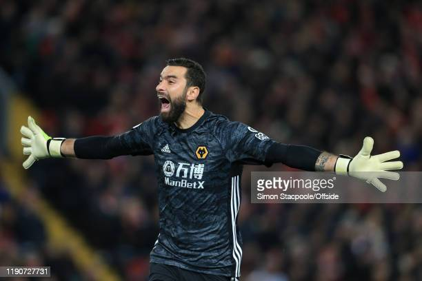 Wolves goalkeeper Rui Patricio celebrates during the Premier League match between Liverpool FC and Wolverhampton Wanderers at Anfield on December 29,...