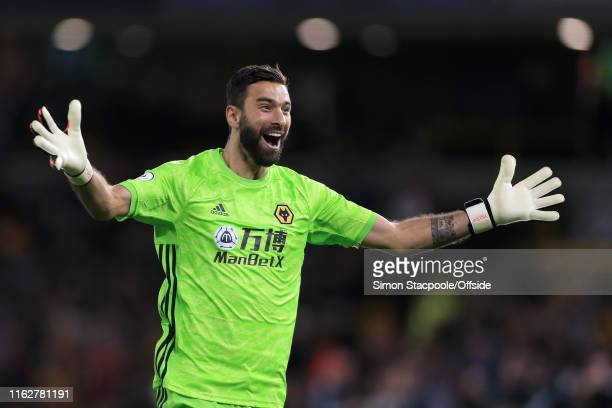 Wolves goalkeeper Rui Patricio celebrates their 1st goal during the Premier League match between Wolverhampton Wanderers and Manchester United at...